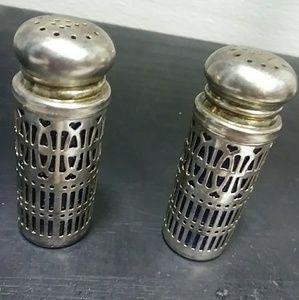 set of vintage cobalt blue salt n pepper shakers